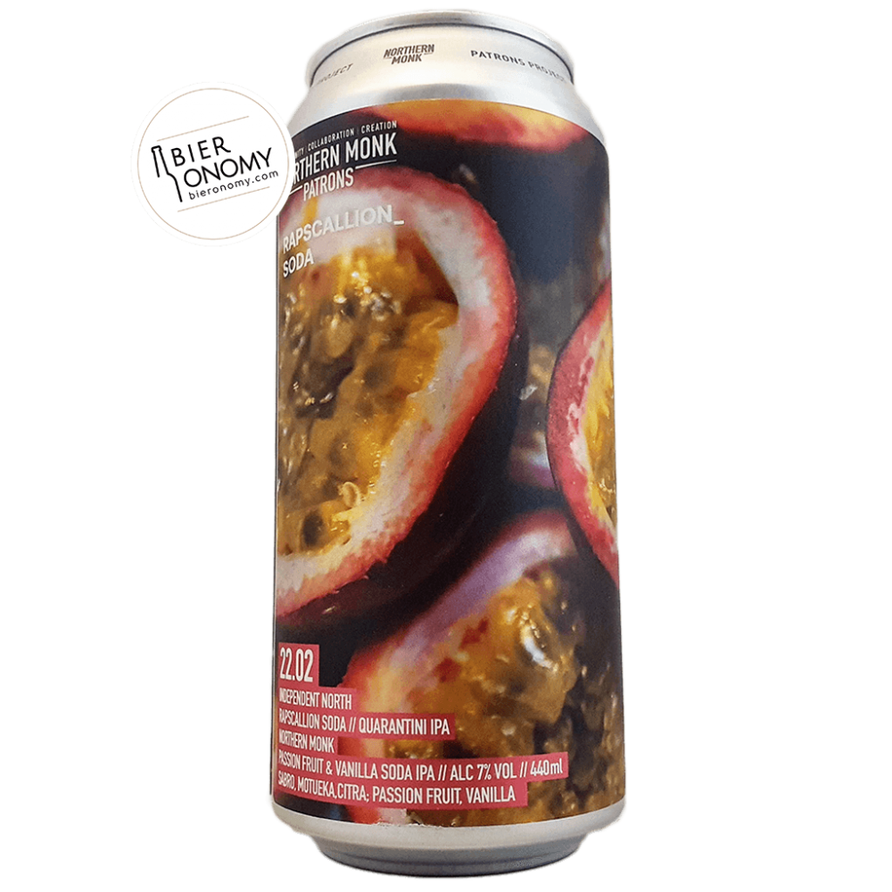 Bière Patrons Project 22.02 Independent North // Rapscallion Soda // Quarantini IPA 44 cl Northern Monk Brew Co Brasserie