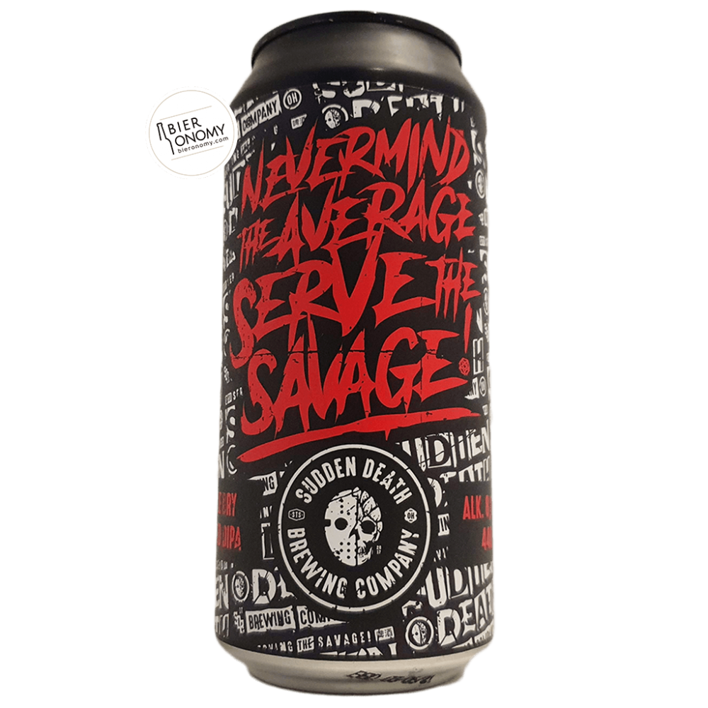 Bière Nevermind the Average, Serve the Savage DDH DIPA 44 cl Brasserie Sudden Death Brewing Company