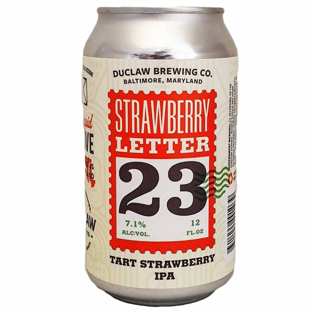 Strawberry Letter 23 DuClaw Brewing Co Bière Artisanale Tart Strawberry IPA États-Unis USA Bieronomy